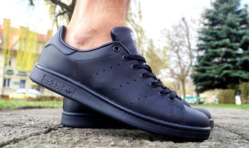 Neu Schuhe ADIDAS STAN SMITH Herren Sneaker Turnschuhe Leder Schwarz M20327 SALE