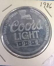 "COORS LIGHT BEER Silver Bullet 1-1/2"" aluminum coin (1986) Mardi Gras Louisiana"
