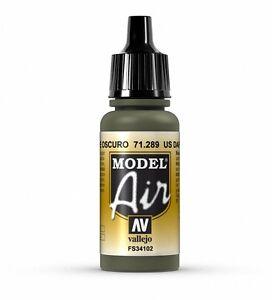 VALLEJO AIRBRUSH PAINT - MODEL AIR - US DARK GREEN 17ML - 71.289