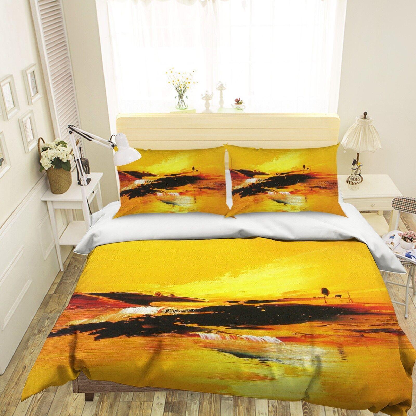3D Golden Oil Painting 2 Bett Pillowcases Quilt Duvet Startseite Set Single Königin König