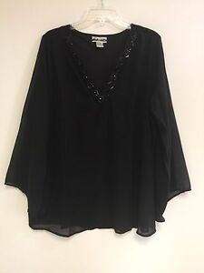 Women-039-s-Plus-Black-Embellished-V-Neck-Lined-Polyester-Top-Blouse-1X-2X-3X-NWT