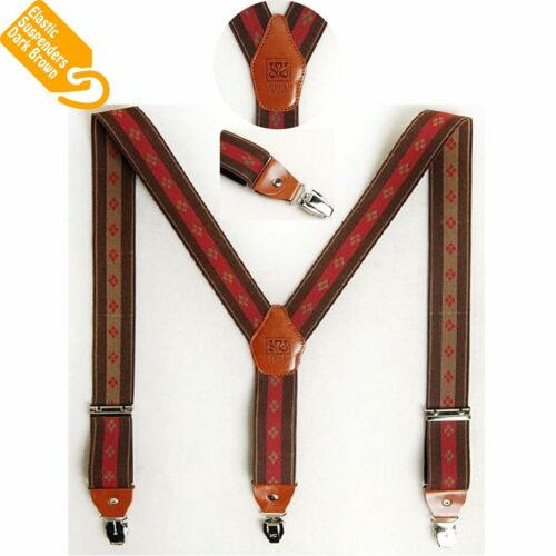 New Men Elastic Clip Suspenders Tuxedo Office Suit Adjustable Y-Back Braces Belt
