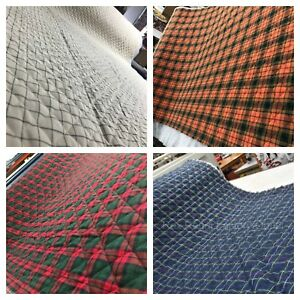 Ready-Pre-Quilted-Wincyette-Flannel-Check-Tartan-Fabric-Brushed-Soft-Cotton