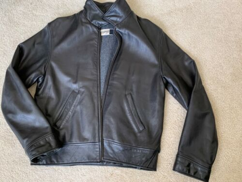 Esprit Varsity Collared Leather Jacket Men Size Sm