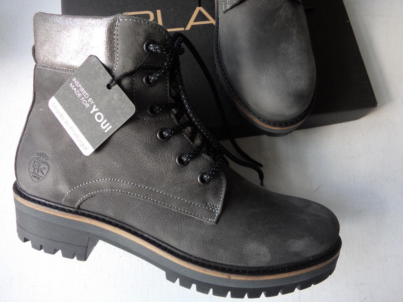 NEU schwarz Stiefel Stiefelette echt Leder dunkelgrau Made in Portugal Größe 37- 42