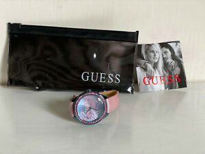 NEW-GUESS-LITTLE-PARTY-GIRL-PINK-GENUINE-LEATHER-WATCH-100-W0161L3-SALE