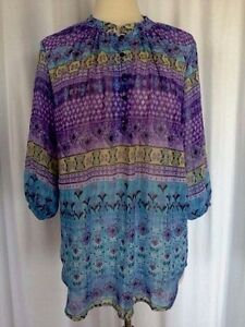 SIZE-S-NWT-34-00-CHRISTINE-V-Purple-Blue-Pullover-Watercolor-Aztec-Tunic-Top