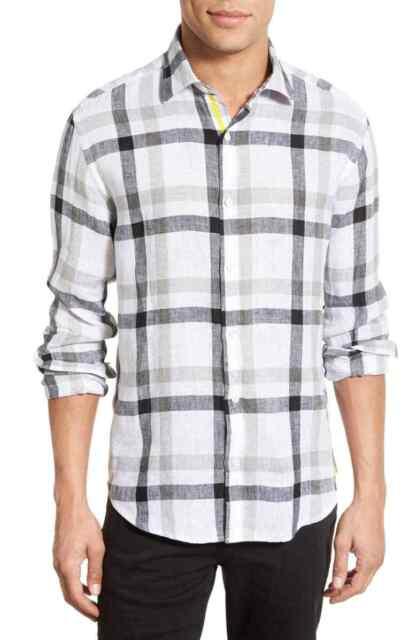 BUGATCHI Shaped Fit Plaid Sport Shirt Black white Linen NWT