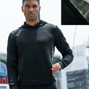 Men-039-s-Workout-Hoodie-Athletic-Casual-Running-Sweatshirt-Camo-Print-with-Pockets