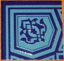 "Turquoise & Blue Raised 4""x4"" Turkish Iznik Ceramic Tile Border Corner"