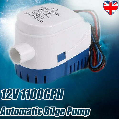 12V 1100GPH Automatic Submersible Bilge Pump Fully Auto Float Switch Internal UK