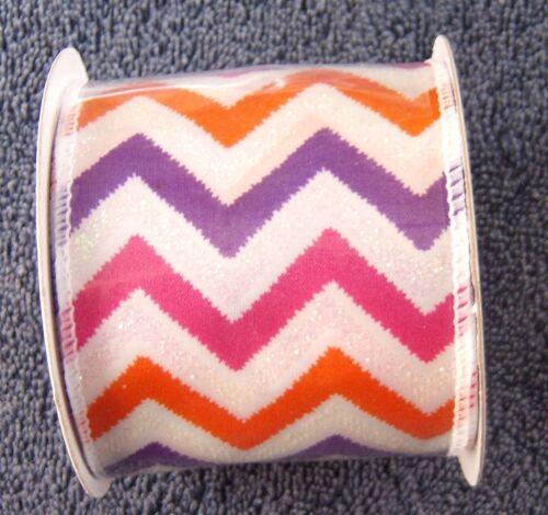 Ribbon 2.5 inch x 3 yards Wired Chevron Orange Pink Purple White  B23 #2