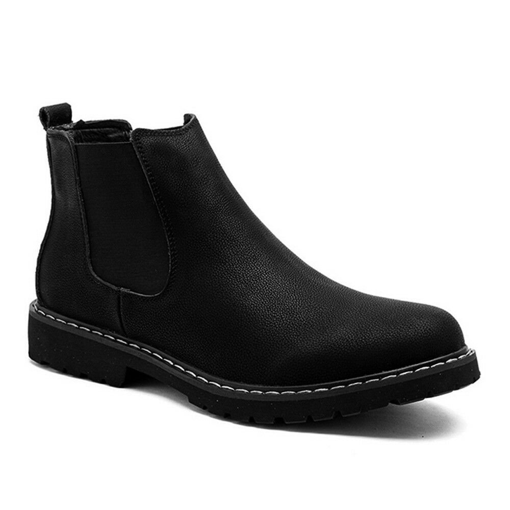 Men Fashion Chelsea Boots Autumn Winter Ankle Boots Casual Slip On Leather shoes
