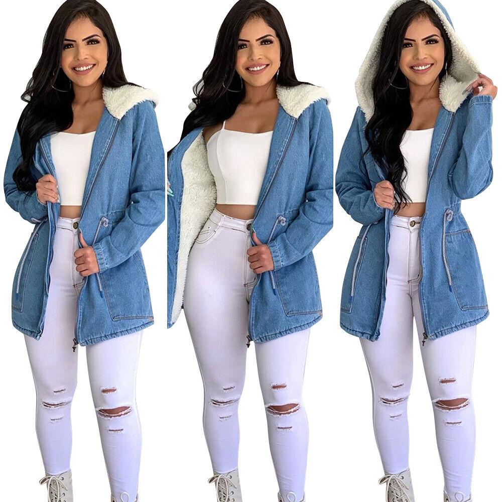 Womens Fur Lined Denim Jacket Winter Warm Hooded Parka Coat Outwear Overcoat