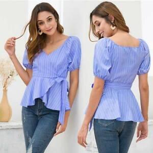 Casual-Fashion-Loose-Tops-Blouse-T-Shirts-Short-Sleeve-Shirt-Summer-Ladies-Women