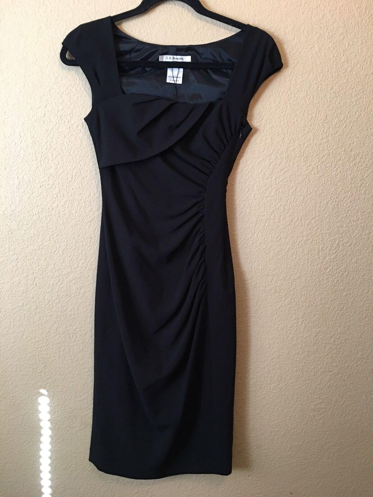 NWT LK Bennett Stunner Fitted Dress Classy US 2 XS schwarz