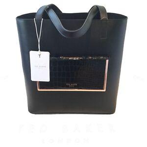 Baker New real cuero Bolso Exotic Rrp 135852 160 de Ted Shopper Black qwpUC64xC