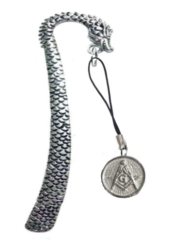Masonic G FT11 2.1cm X 2.1cm English Pewter On A DRAGON Bookmark