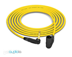 Mogami 2534 Quad Cable | Neutrik Gold 90º TRS to 90º XLR-M | Yellow 35 Feet 35'