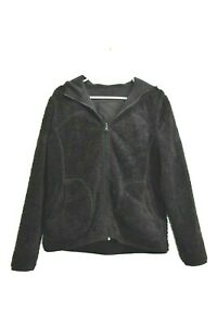 Tek-Gear-Women-039-s-Large-Full-Zip-Reversible-Fleece-Hooded-Jacket-Black