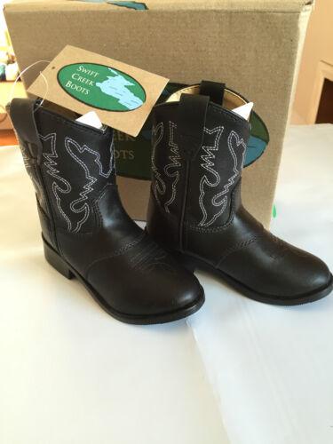 BNWT Little Boys Sz US 7 Swift Creek Brand Black Cowboy Western Style Boots