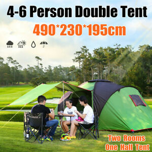 4-6-Person-Large-Camping-Tent-Waterproof-Hiking-Travel-Two-Room-One-Hall-Tents