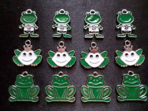 12 Enamel Frog Animal Fun Kid Charms Jewelry Earrings F8 Quick Ship