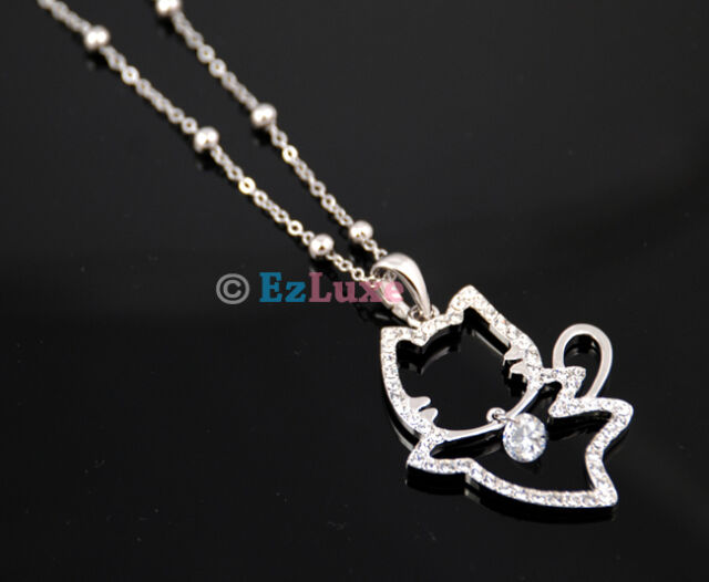korean fashion kitty kitten cubic Crystal Cat Necklace