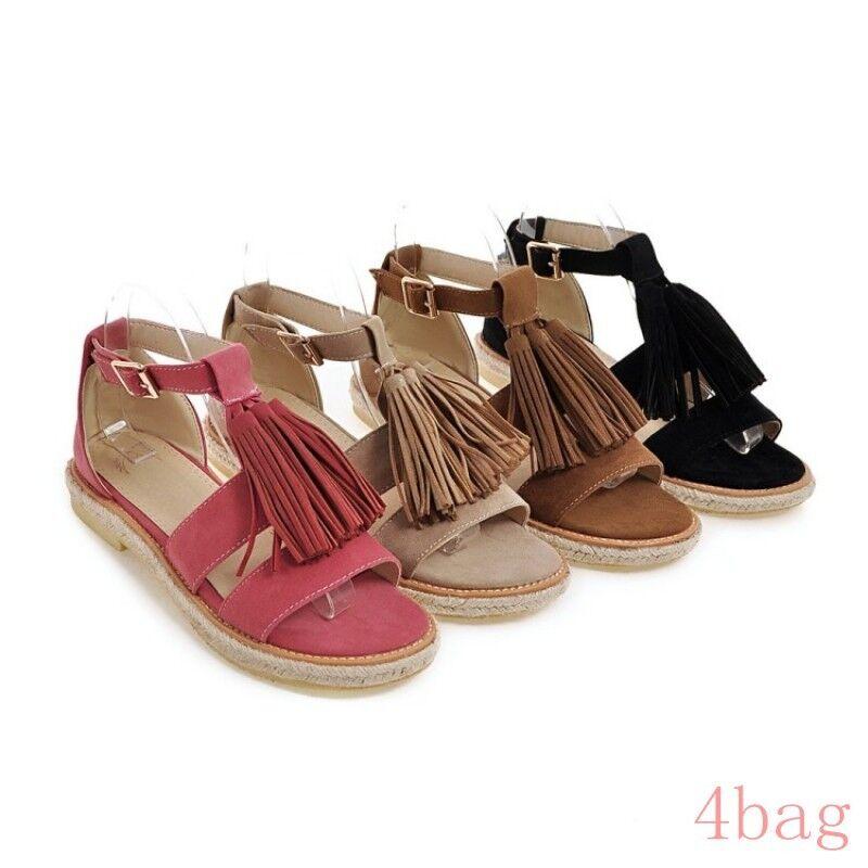 Womens Summer Flat Tassel Roman Gladiators Buckle Sandals Espadrille Party shoes