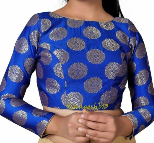 Designer Sari Blouse,Boat Neck Padded Blue Saree Blouse with Long Sleeves.Top