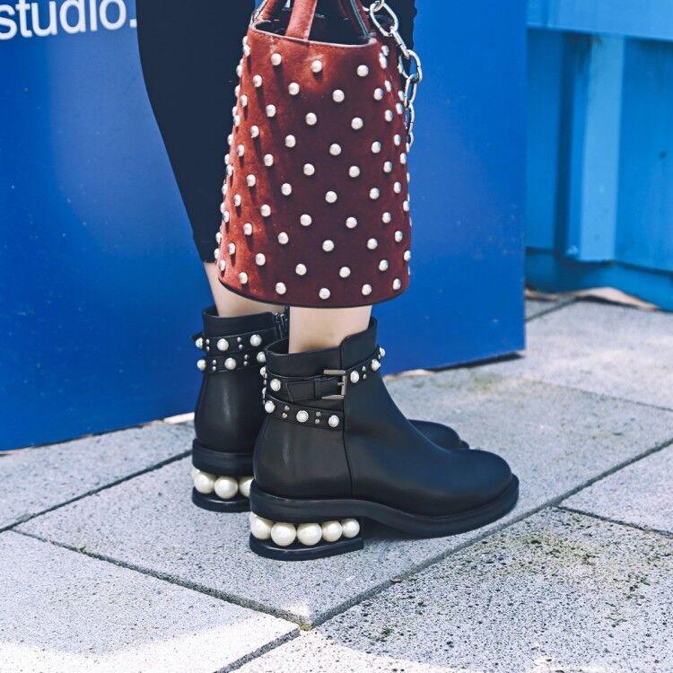 Zapatos De Fiesta bloque de cuero para para para mujer Tacón Gatito botas al Tobillo Perla Decro Puntera en Punta  ofrecemos varias marcas famosas