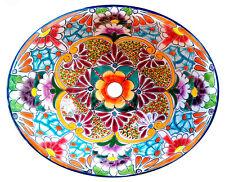 #134) MEDIUM 17x14 MEXICAN BATHROOM SINK CERAMIC DROP IN UNDERMOUNT BASIN