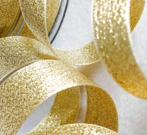 Metallic-Glitter-Craft-Ribbon-Berisfords-Gold-Sparkly-Lame-3-7-15-25-40mm