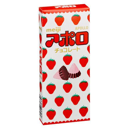 meiji☀Japan-APOLLO CHOCOLATE 48g Triangle type chocolate of strawberry & milk.