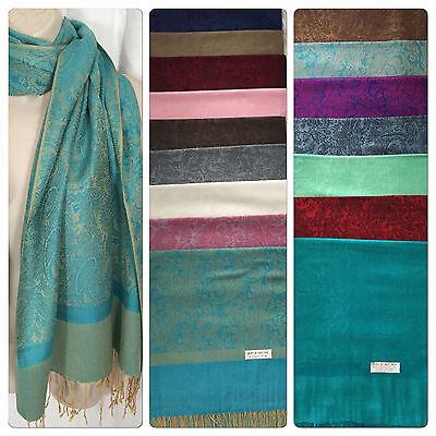 "*New 100/% Pashmina Wrap Fringe Scarf Solid Color Shawl Scarves NIP 72/"" x 28/"""