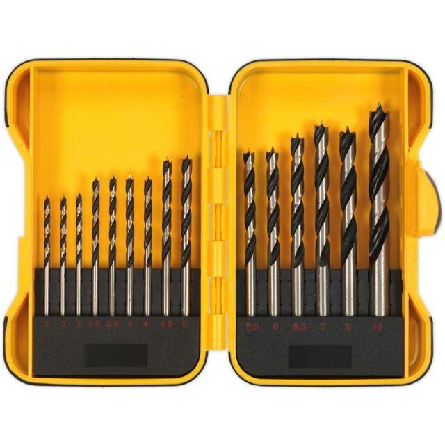 Siegen 15pc Wood Drill Bit Set Metric 3-10mm With Storage Case