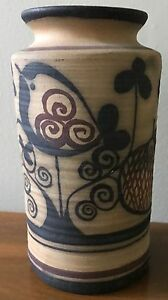 Vtg-60s-70s-Ceramic-Art-Pottery-Vase-Vessel-Retro-Mid-Century-Modern-Bird-Tree