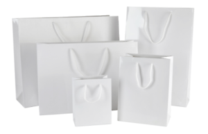 Luxury White Gloss Paper Bags With Rope Handles Christmas