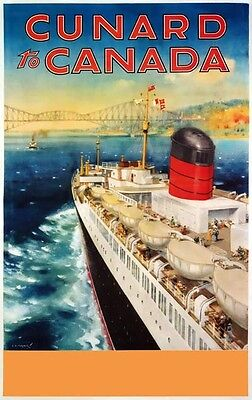 TX350 Vintage Cunard To Canada Cruise Ship Liner Travel Poster Re-Print A2//A3//A4