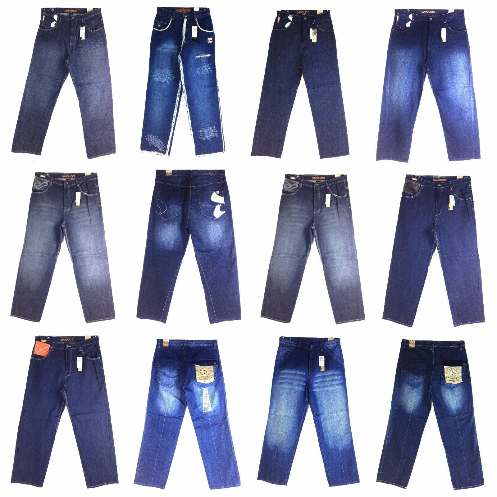 DAVOCCI, Vintage, Old School, Men's Designer New Jeans Assorted Styles Group [2]