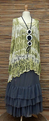 LAGENLOOK AMAZING BEAUTIFUL LACE QUIRKY BOHO OVERTOP+TOP*OLIVE*SIZE 12-14-16-18