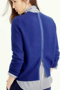 $250 New J.Crew blue wool sweater with full length back zipper detail women's S