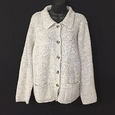 JENNIFER MOORE Cardigan Sweater Chunky Knit Wool Blend Light Gray Women's XL