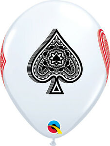CASINO-PARTY-SUPPLIES-BALLOONS-10-x-11-034-QUALATEX-WHITE-CARD-SUITS-LATEX-BALLOONS