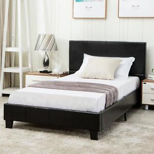 Twin-Size-Faux-Leather-Metal-Bed-Frame-Platform-Headboard-Bedroom-Furniture