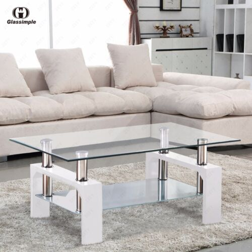 Elegant DESIGNER Glass Rectangular Coffee Table Shelf Chrome Wood Living Room  Furniture White