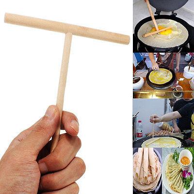 1/2/5X Wooden Rake Round Batter Pancake Crepe Spreader Kitchen Tool Kit DIY CABB
