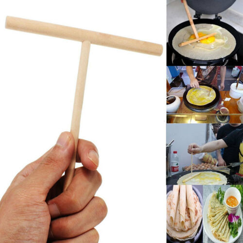1//2//5 x Crepe Maker Pancake Batter Wooden Spreader Stick Home Kitchen Tool LV KK