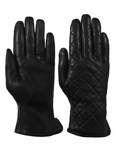 Giromy-Samoni-Womens-Warm-Winter-Leather-Quilted-Dress-Driving-Gloves-Black