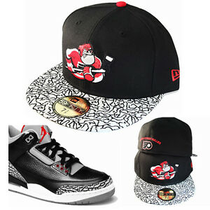 c3947e300 Details about New Era NHL Philadelphia Flyers 5950 Fitted Hat Air Jordan 3  Black Cement Cap